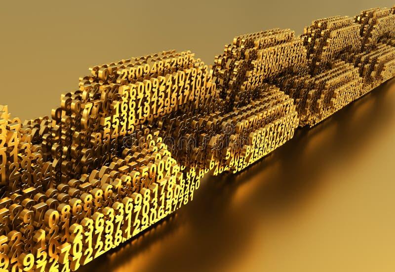 Concept de Blockchain Chaîne de Digital d'or des nombres 3D reliés ensemble illustration de vecteur