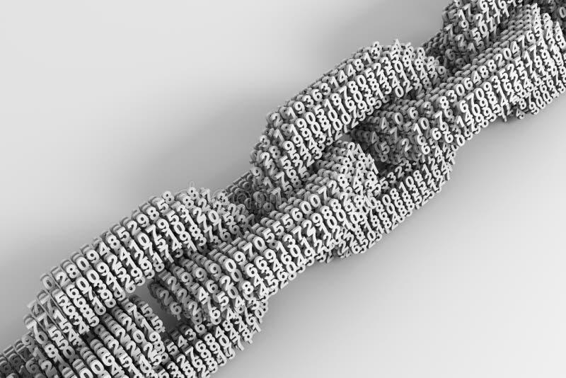 Concept de Blockchain Chaîne de Digital des nombres 3D reliés ensemble illustration de vecteur