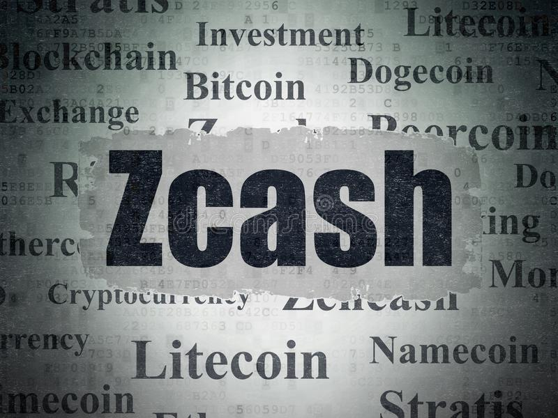 Concept de Blockchain : Zcash sur le fond de papier de données numériques illustration de vecteur