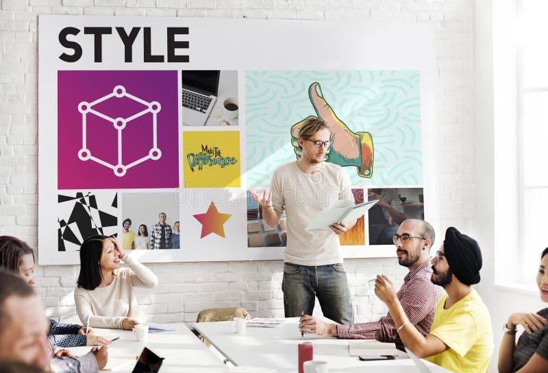 Concept de boîte de travail d'équipe de groupe de réunion image stock