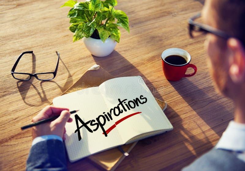 Concept de Brainstorming About Aspirations d'homme d'affaires image stock