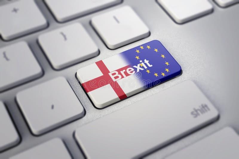 Concept de Brexit avec l'Angleterre et le drapeau d'UE sur un clavier d'ordinateur illustration de vecteur