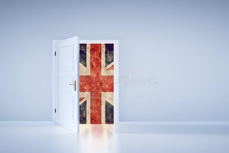 Concept de Brexit Drapeau BRITANNIQUE derrière la porte de sortie illustration de vecteur