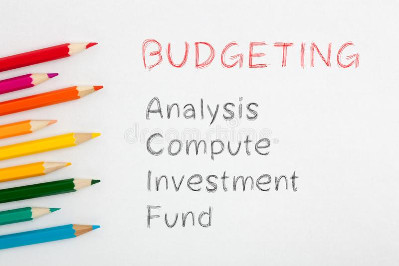 Concept de budgétisation des textes photos stock