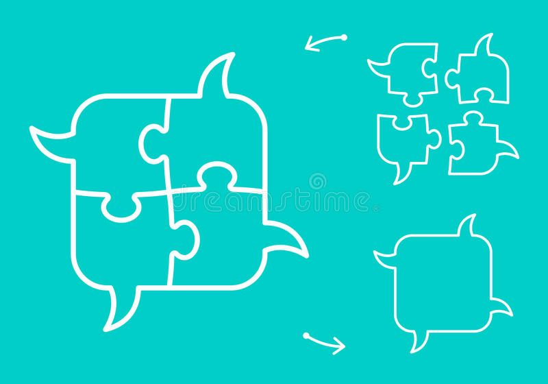 Concept de bulles de la parole de puzzle de séance de réflexion illustration libre de droits