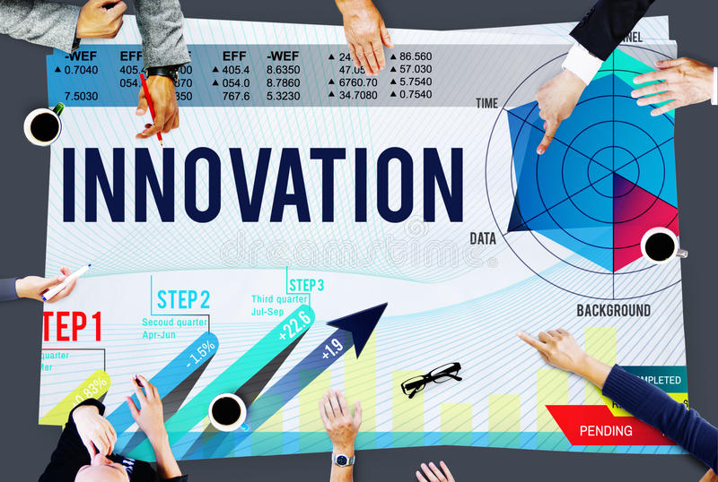 Concept de buts de stratégie de mission d'idées d'innovation image libre de droits