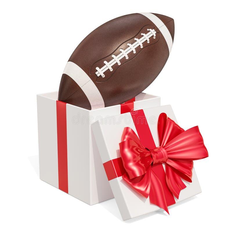 Concept de cadeau, boule de football américain et casque à l'intérieur de boîte-cadeau illustration de vecteur