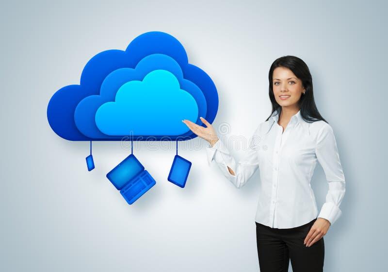 Concept de calcul d'idée de nuage. Points de femme d'affaires au nuage images stock