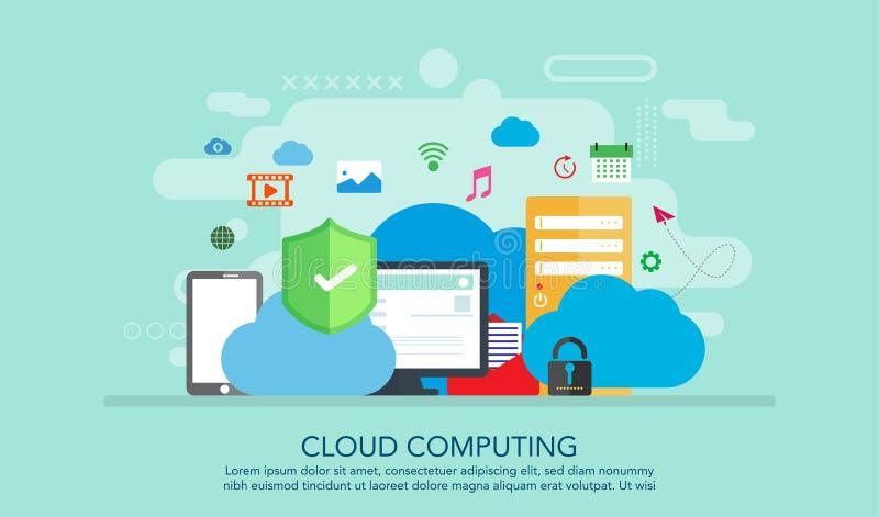 Concept de calcul d'Internet de nuage relié dans le nuage un stockage approprié pour la bannière, fond, illustration de livre Pré illustration libre de droits