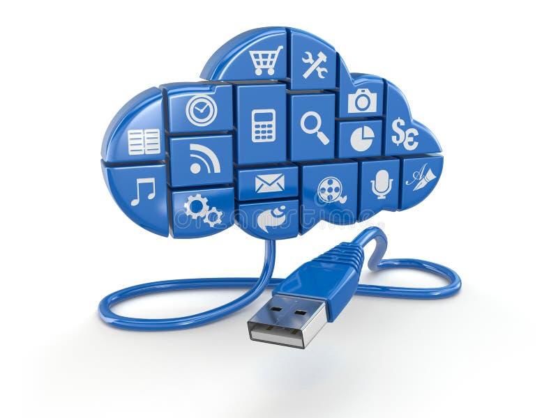 Concept de calcul de nuage. Apps et usb. illustration stock