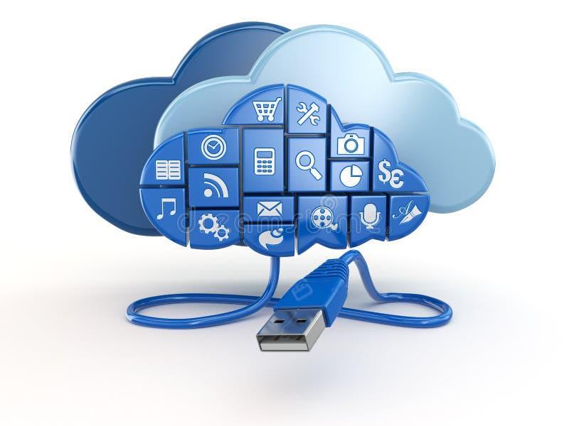 Concept de calcul de nuage. Apps et usb. illustration libre de droits