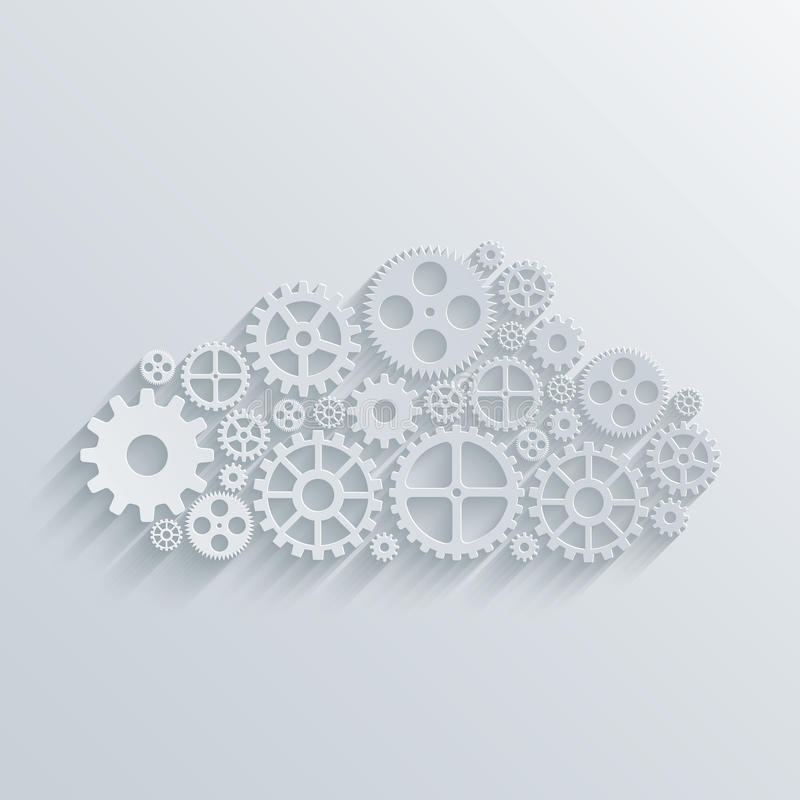 Concept de calcul de nuage de mécanisme moderne de vecteur illustration stock
