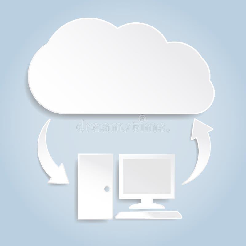 Concept de calcul de nuage de papier illustration stock