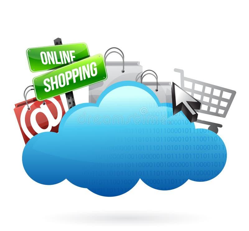 Concept de calcul de nuage en ligne d'achats illustration libre de droits