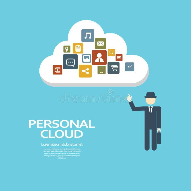 Concept de calcul de nuage personnel pour privé et illustration de vecteur