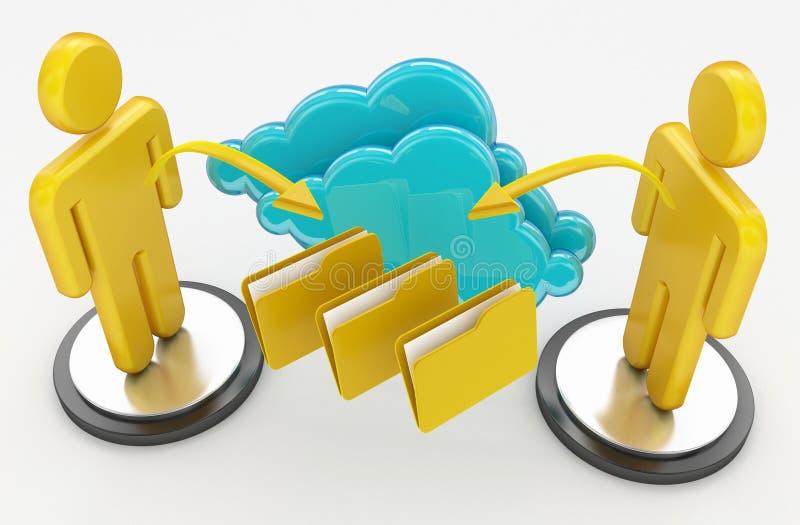 Concept de calcul de réseau et de nuage illustration de vecteur