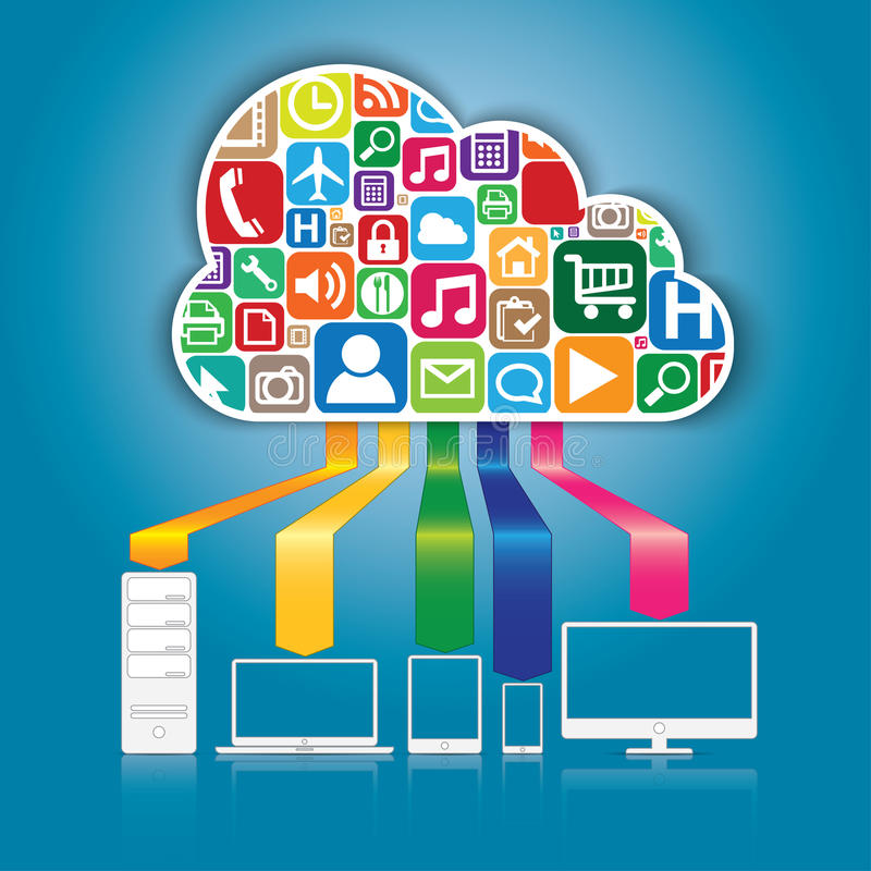 Concept de calcul et d'applications de nuage. illustration libre de droits
