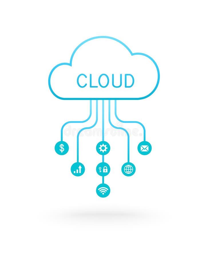 Concept de calcul de nuage avec des icônes d'affaires illustration de vecteur