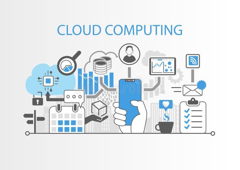 Concept de calcul de nuage avec la main tenant le téléphone intelligent libre d'encadrement moderne illustration stock