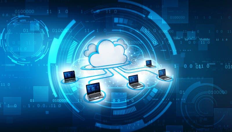 Concept de calcul de nuage et de technique de protection de réseau 3d rendent illustration stock