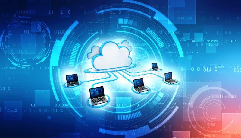 Concept de calcul de nuage et de technique de protection de réseau 3d rendent illustration libre de droits