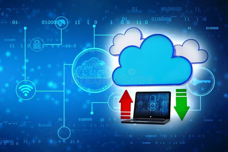 Concept de calcul de nuage, technologie de réseau de nuage rendu 3d illustration libre de droits