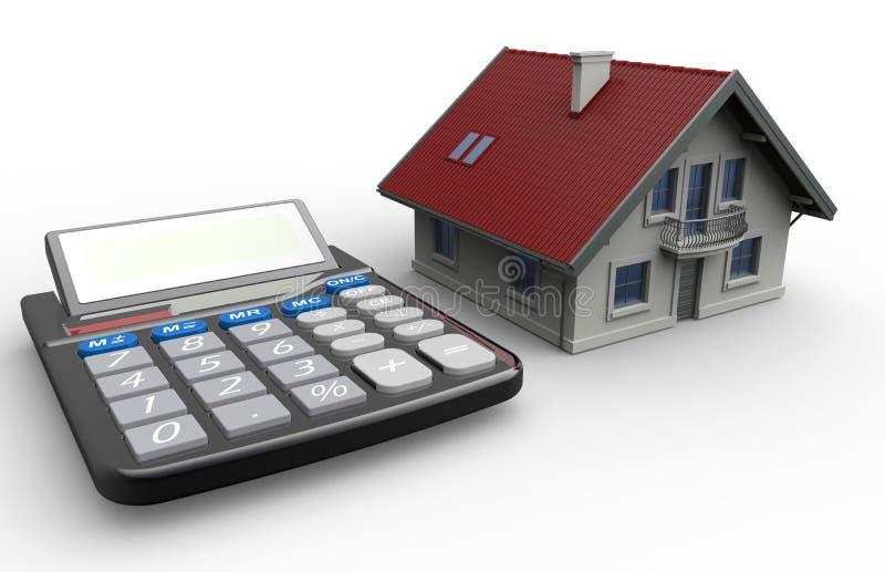 Concept de calculatrice d'hypothèque de maison de Smal illustration de vecteur