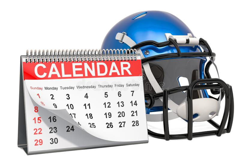 Concept de calendrier d'?v?nements de football am?ricain rendu 3d illustration de vecteur