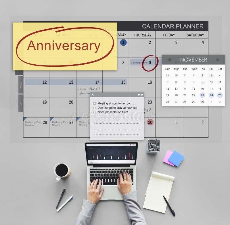 Concept de calendrier de planificateur de rendez-vous d'événement d'anniversaire images libres de droits