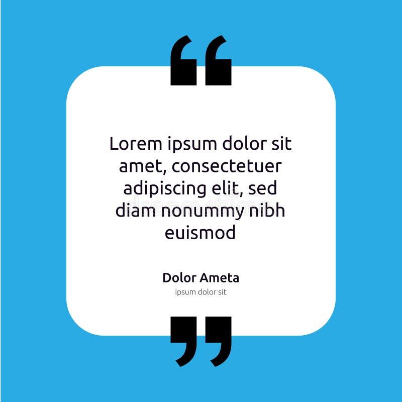 Concept de calibre d'affiche de zone de texte de citation de remarque citation vide vide de cadre Icône de symbole de paragraphe  illustration de vecteur