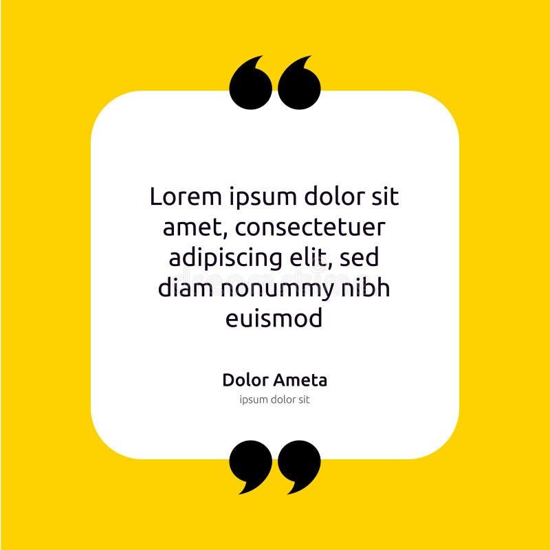 Concept de calibre d'affiche de zone de texte de citation de remarque citation vide vide de cadre Icône de symbole de paragraphe  illustration stock