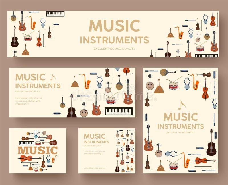 Concept de calibre d'infographics de cercle d'instruments de musique de festival Vecteur plat avec le long fond d'illustration d' illustration de vecteur