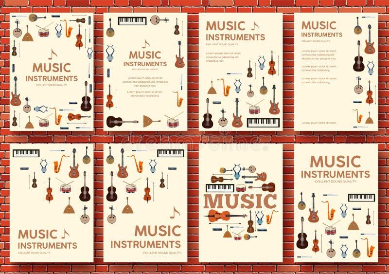 Concept de calibre d'infographics de cercle d'instruments de musique de festival Vecteur plat avec le long fond d'illustration d' illustration libre de droits