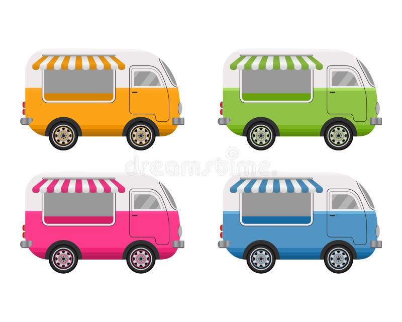 Concept de camion de nourriture de rue E la livraison d'aliments de pr?paration rapide Style plat de conception Illustration de v illustration stock