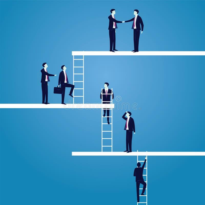 Concept de carrière d'affaires Les hommes d'affaires mènent pour monter la haute échelle illustration stock