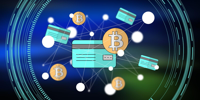 Concept de carte de cr?dit de bitcoin illustration libre de droits