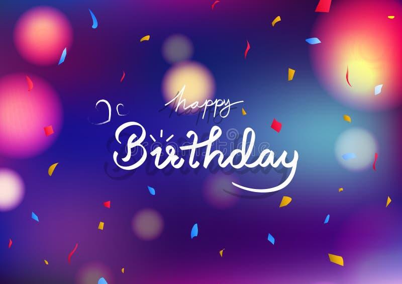 Concept de carte de joyeux anniversaire, confettis abstraits colorés troubles bleus de papier de décoration de fond de partie de  illustration de vecteur