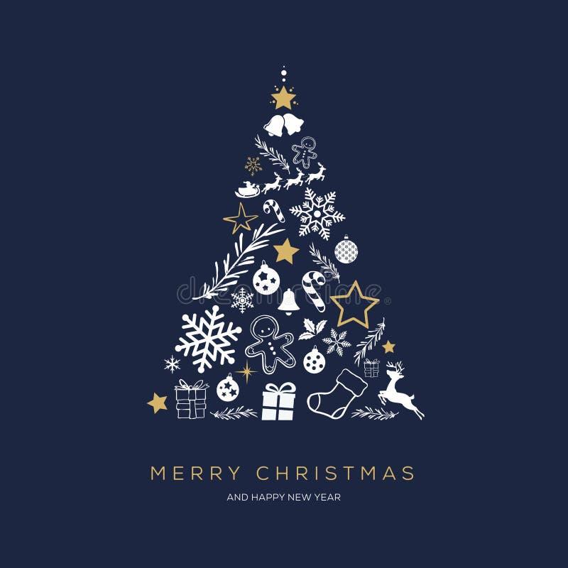 Concept de carte de voeux avec le Joyeux Noël de mots illustration de vecteur