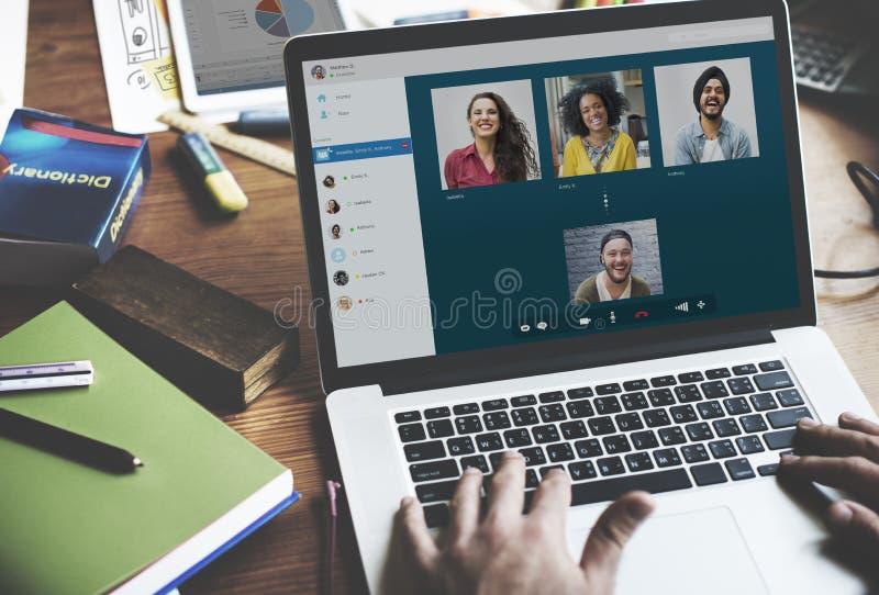 Concept de causerie de communication de Facetime d'appel visuel photos stock