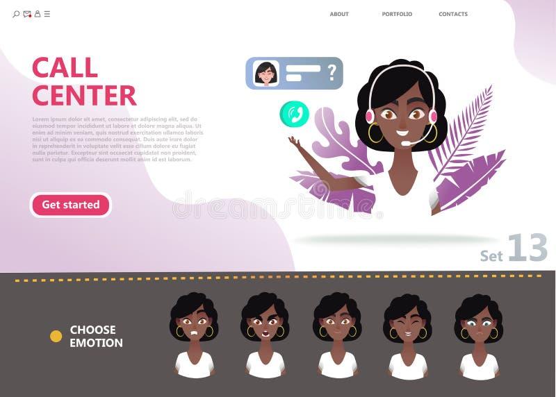 Concept de centre d'appels Femme afro-américaine de personnage de dessin animé illustration de vecteur