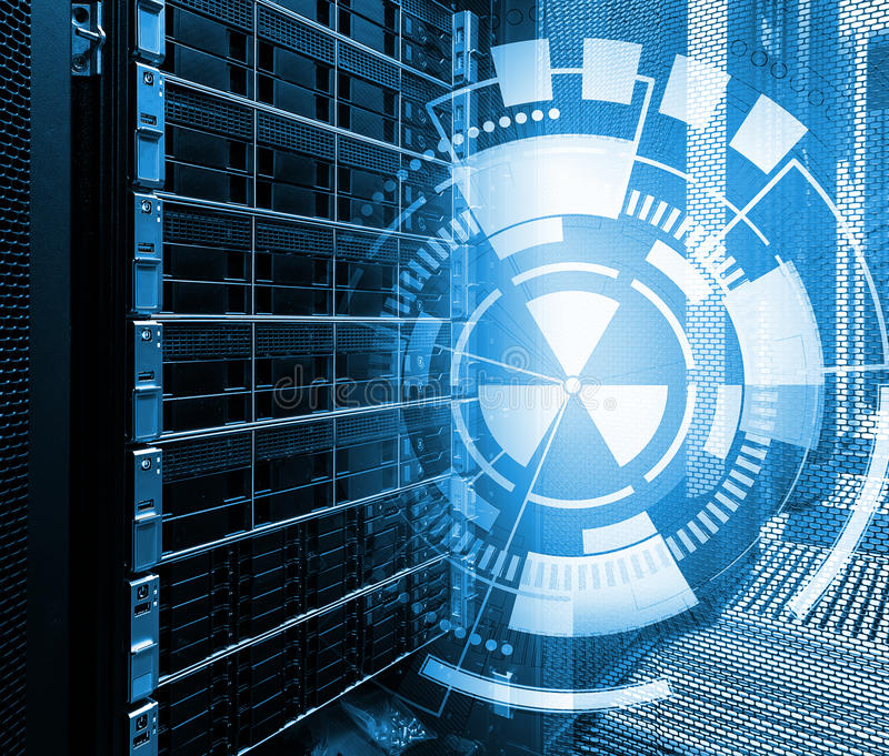 Concept de centre de traitement des données de mémoire à disque Technologie et base de données de l'information sur le fond techn images libres de droits