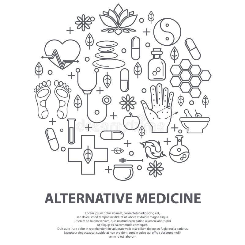 Concept de centre de médecine alternative Centre holistique, médecine naturopathique, homéopathie, acupuncture, ayurveda, chinois illustration de vecteur