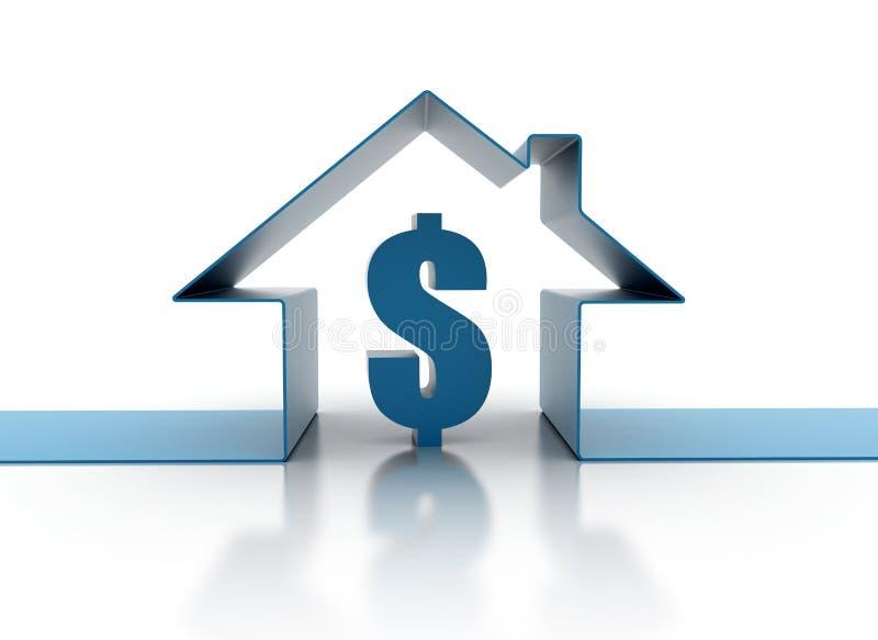 Concept de Chambre avec le signe du dollar illustration de vecteur