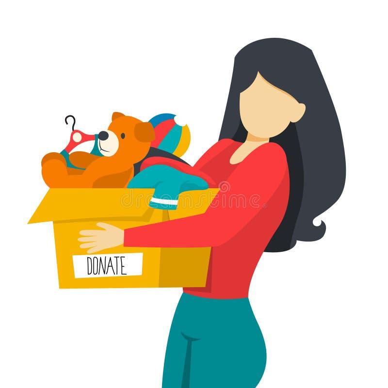 Concept de charité Les gens donnent l'argent et les vêtements illustration de vecteur