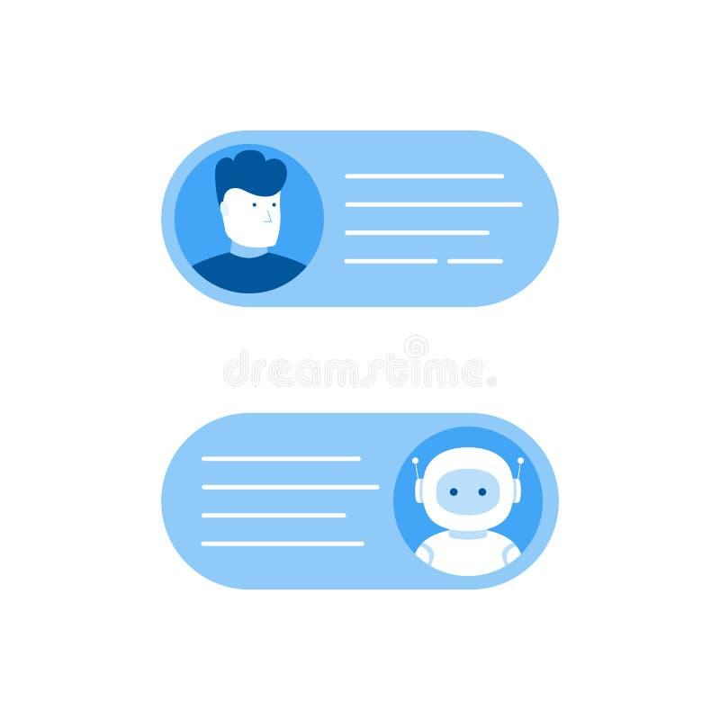Concept de Chatbot Homme causant avec le bot de causerie Illustration plate moderne de vecteur de style illustration stock
