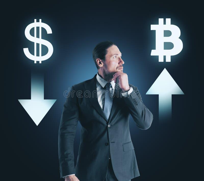 Concept de choix, de cryptocurrency et de finances photo stock