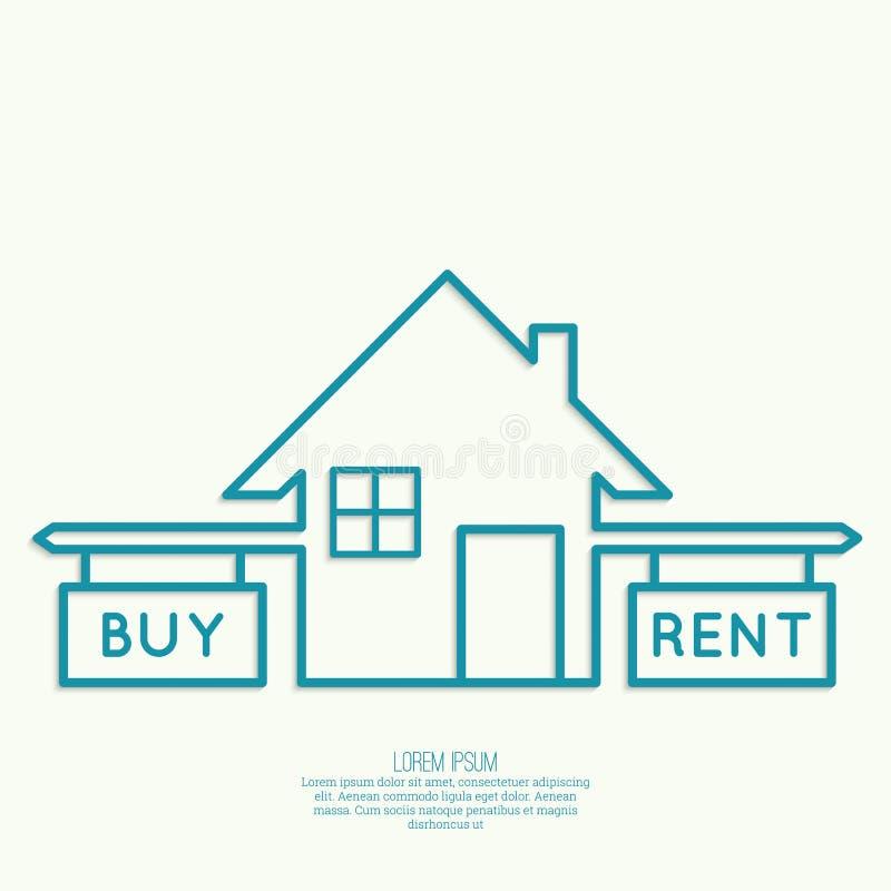 Concept de choix entre l'achat et la location illustration libre de droits