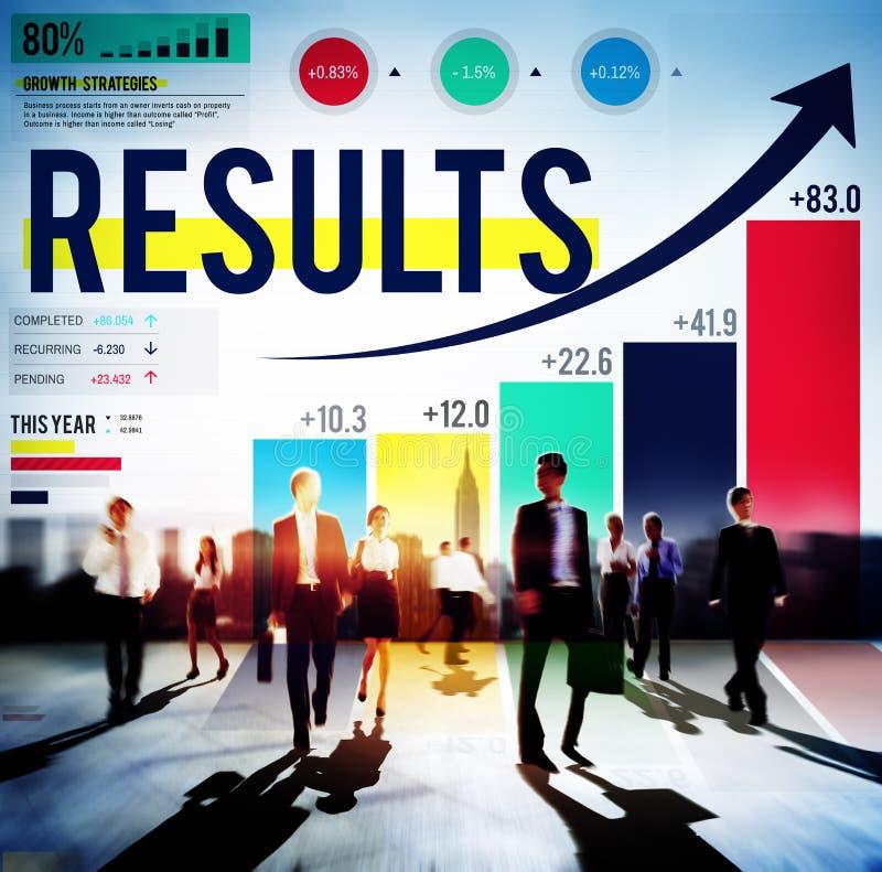Concept de cible d'accomplissement de résultats de conclusion de résultats image stock