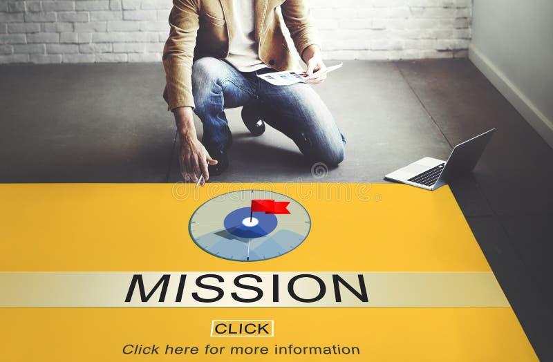 Concept de cible de stratégie de motivation de buts de but de mission photographie stock