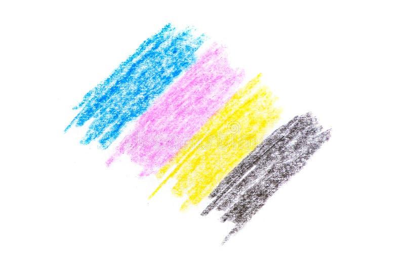 Concept de Cmyk - texture de crayon avec les dessins jaunes et noirs cyan de magenta rouge bleu sur le fond de livre blanc image stock
